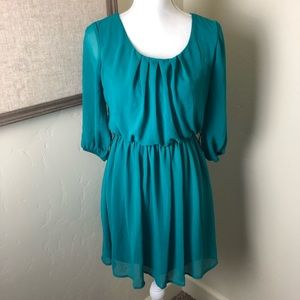 By & By Emerald Green Chiffon Peasant Dress